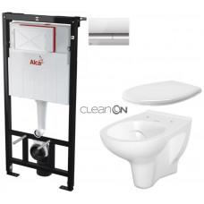 ALCAPLAST - SET Sádromodul - předstěnový instalační systém + tlačítko M1721 + WC CERSANIT ARTECO CLEANON + SEDÁTKO (AM101/1120 M1721 AT2)
