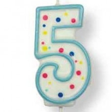 Svíčka dortová, modrá - číslo 5