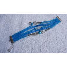 Kožený Vintage náramek Houslový klíč- 2 barvy Barva: Modrý