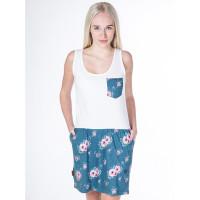 Alife and Kickin ROSALIE Smaragd Flowers společenské šaty krátké - XL