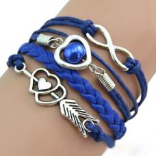Vintage kožený náramek Nekonečná láska - 7 barev Barva: Modrý