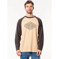 Rip Curl RETRO DIAMOND KHAKI pánské tričko s dlouhým rukávem - XL