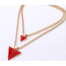 Náhrdelník Dvojitý trojúhelník - 2 barvy Barva: Červený