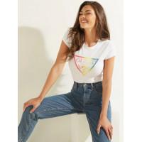 GUESS tričko Rainbow Logo Tee bílé vel. L