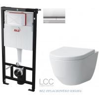 ALCAPLAST - SET Sádromodul - předstěnový instalační systém + tlačítko M1721 + WC LAUFEN PRO LCC RIMLESS + SEDÁTKO (AM101/1120 M1721 LP2)