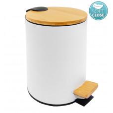 AQUALINE - BAMBUS odpadkový koš kulatý 5l, bílá (BI007)