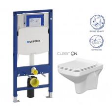 GEBERIT - SET Duofix pro závěsné WC 111.300.00.5 bez ovládací desky + WC CERSANIT COMO NEW CLEANON + Sedátko (111.300.00.5 CO1)