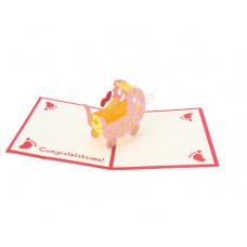 3D přání Růžový kočárek
