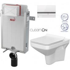 ALCAPLAST - SET Renovmodul - předstěnový instalační systém + tlačítko M1720-1 + WC CERSANIT CLEANON COMO + SEDÁTKO (AM115/1000 M1720-1 CO1)
