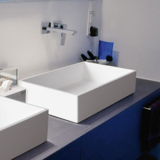 Aquatek CUBE umyvadlo z litého mramoru 57,5x 37,5 cm, bílé