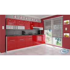 Kuchyňská linka Atractive červená vysoký lesk - FALCO