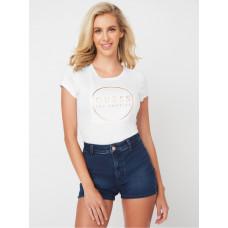 GUESS tričko Gigi Logo Crewneck Tee bílé vel. XS
