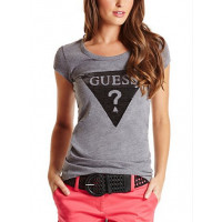 GUESS tričko Tracy Logo Tee šedé vel. L