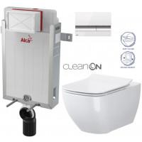 ALCAPLAST - SET Renovmodul - předstěnový instalační systém + tlačítko M1720-1 + WC OPOCZNO CLEANON METROPOLITAN + SEDÁTKO (AM115/1000 M1720-1 ME1)