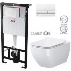 ALCAPLAST - SET Sádromodul - předstěnový instalační systém + tlačítko M1710 + WC OPOCZNO CLEANON METROPOLITAN + SEDÁTKO (AM101/1120 M1710 ME1)