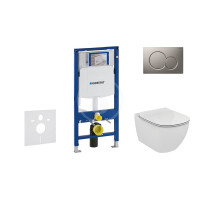 Geberit Sada pro závěsné WC + klozet a sedátko softclose Ideal Standard Tesi - sada s tlačítkem Sigma01, matný chrom 111.300.00.5 NE3
