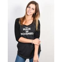 Movember MOSISTA RAGLAN Black/Charcoal dámské tričko s krátkým rukávem - M