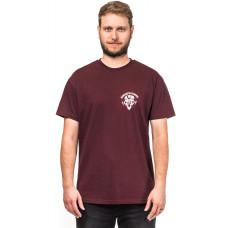 Horsefeathers BEAR SKULL burgundy pánské tričko s krátkým rukávem - L