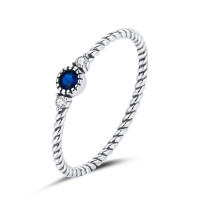 """OLIVIE Stříbrný prstýnek """"NĚCO MODRÉHO"""" 5020 Velikost prstenů: 8 (EU: 57-58)"""
