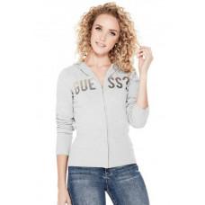 GUESS svetr Dawn Logo Hooded Sweater šedý vel. XS