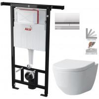ALCAPLAST - SET Jádromodul - předstěnový instalační systém + tlačítko M1721 + WC LAUFEN PRO + SEDÁTKO (AM102/1120 M1721 LP3)