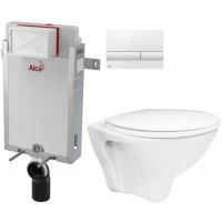 ALCAPLAST - SET Renovmodul - předstěnový instalační systém + tlačítko M1710 + WC CERSANIT ARES + SEDÁTKO (AM115/1000 M1710 AR1)