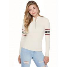 GUESS svetr Henny Half-Zip Logo Sweater warm white vel. XS