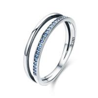 OLIVIE Stříbrný prsten MODRÁ LINIE 3501 Velikost prstenů: 8 (EU: 57 - 58)