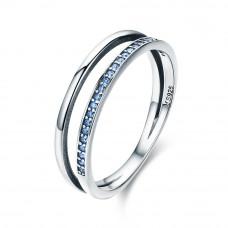 OLIVIE Stříbrný prsten MODRÁ LINIE 3501 Velikost prstenů: 6 (EU: 51 - 53)