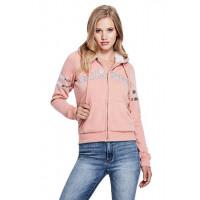 GUESS mikina Grace Logo Sherpa Hoodie růžová vel. XS