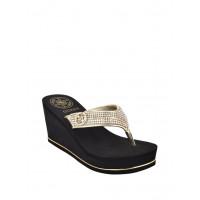 GUESS pantofle Sarraly Wedge Logo Flip Flops gold vel. 40