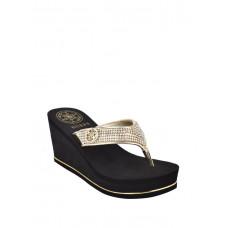 GUESS pantofle Sarraly Wedge Logo Flip Flops gold vel. 38,5