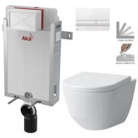ALCAPLAST - SET Renovmodul - předstěnový instalační systém + tlačítko M1710 + WC LAUFEN PRO + SEDÁTKO (AM115/1000 M1710 LP3)