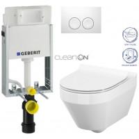GEBERIT - SET KOMBIFIXBasic včetně ovládacího tlačítka DELTA 21 Bílé pro závěsné WC CERSANIT CLEANON CREA OVÁL + SEDÁTKO (110.100.00.1 21BI CR1)