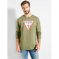 GUESS tričko Classic Logo Long-sleeve Tee zelené vel. L
