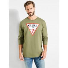 GUESS tričko Classic Logo Long-sleeve Tee zelené vel. XL