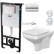 ALCAPLAST - SET Sádromodul - předstěnový instalační systém + tlačítko M1721 + WC CERSANIT CLEANON COMO + SEDÁTKO (AM101/1120 M1721 CO1)