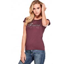 GUESS tričko Patsy Embellished Logo Tee bordové vel. XS