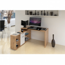 Rohový psací stůl NOE NEW dub wotan/bílá - TempoKondela