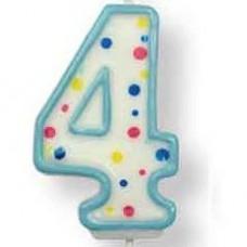 Svíčka dortová, modrá - číslo 4