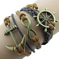 Kožený Vintage náramek Námořník - 5 barev Barva: Hnědý