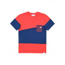 Picture Oxford RED/MARINE pánské tričko s krátkým rukávem - XL