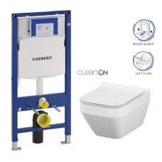 GEBERIT - SET Duofix pro závěsné WC 111.300.00.5 CR + klozet a sedátko CERSANIT CREA HRAN. CLEANON /K114-016+K98-0178/ (111.300.00.5 CR2)