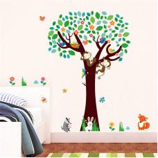 Samolepka Strom s opičkami a zvířátky
