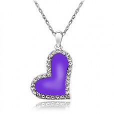 Náhrdelník Srdíčko - 4 barvy Barva: Fialová