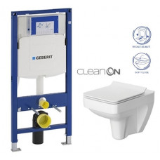 GEBERIT - SET Duofix pro závěsné WC 111.300.00.5 bez ovládací desky + WC CERSANIT SPLENDOUR CLEANON + Sedátko (111.300.00.5 SP1)