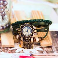 Kožené Vintage hodinky Motýlek - 5 barev Barva: Světle zelený