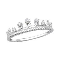 OLIVIE Stříbrný korunkový prsten se zirkony 1800 Velikost prstenů: 8 (EU: 57 - 58)