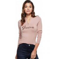 GUESS svetr Lynette Sequin Logo Zip Sweater rose bliss vel. S