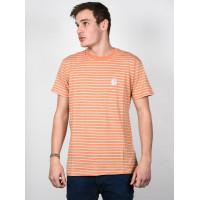 RVCA BARRY STRIPE SUNSET ORANGE pánské tričko s krátkým rukávem - L